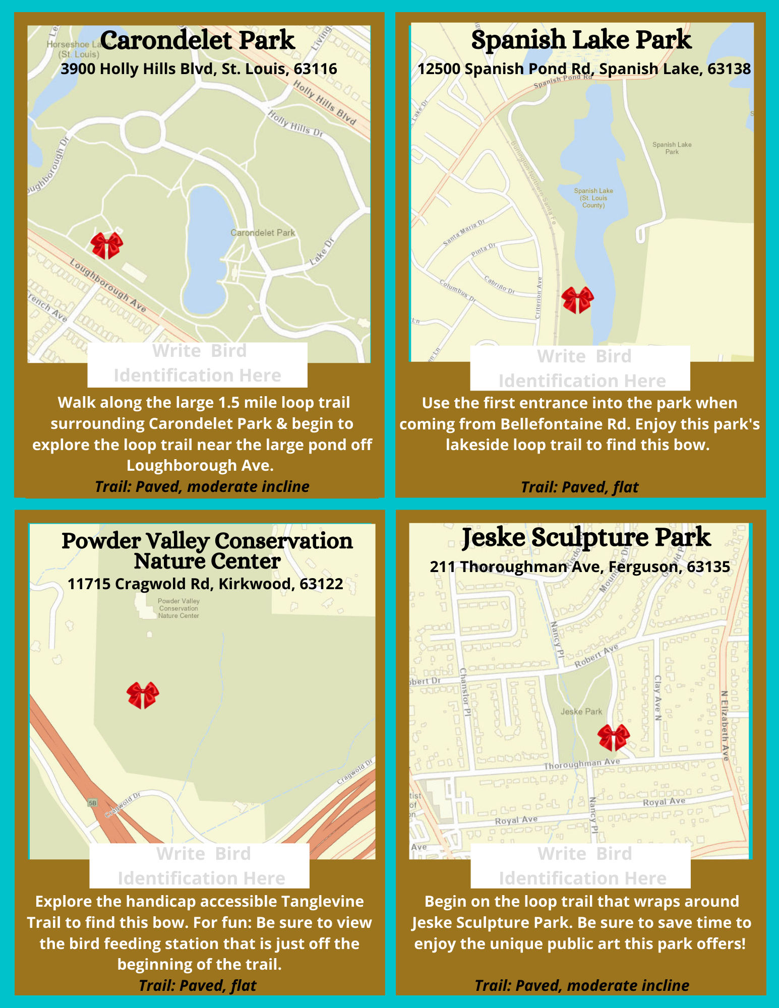 Map overview of four Bows for Birds locations including Carondolet Park, Jeske Sculpture Park, Spanish Lake Park and Powder Valley Conservation Nature Center.