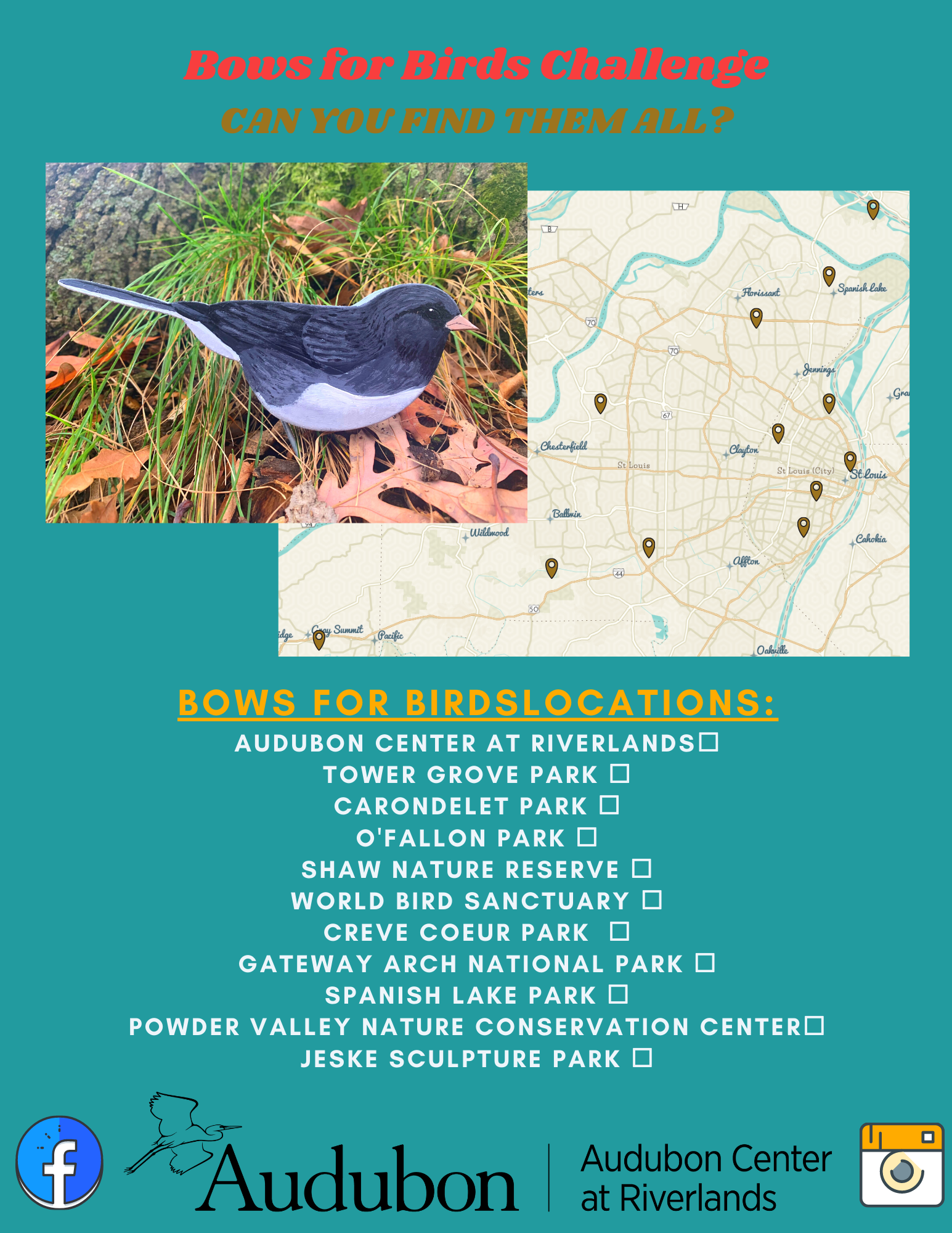 Overhead Map & List of Bows for Birds Locations. A link with a PDF can be found near the bottom of this page.
